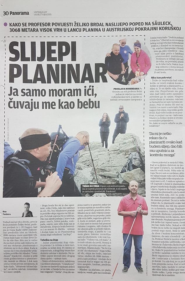 Gojzek Željko Brdal naslijepo se popeo na 3086 metara visok Säuleck